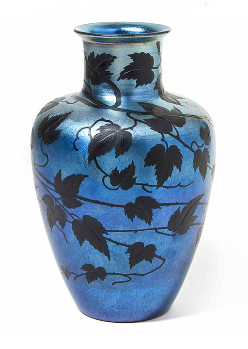 A fine intaglio-carved, blue Tiffany Favrile vase, Hindman lot #130