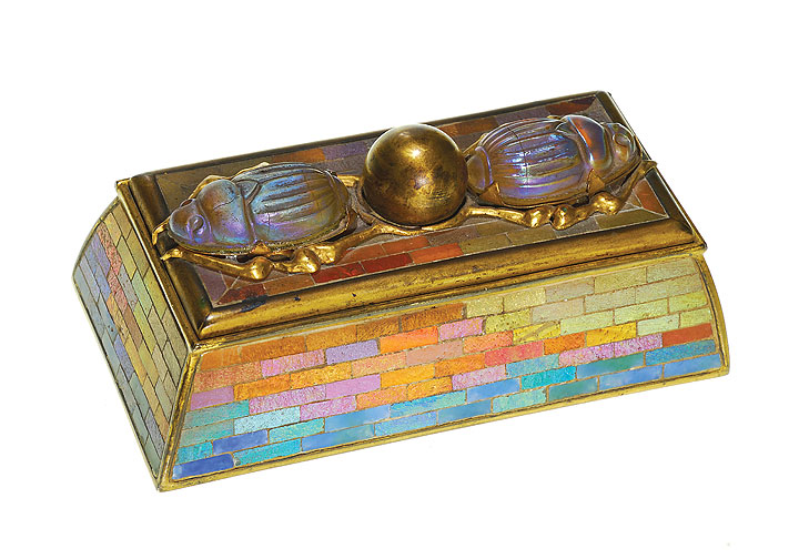 Superb Tiffany Studios scarab stamp box