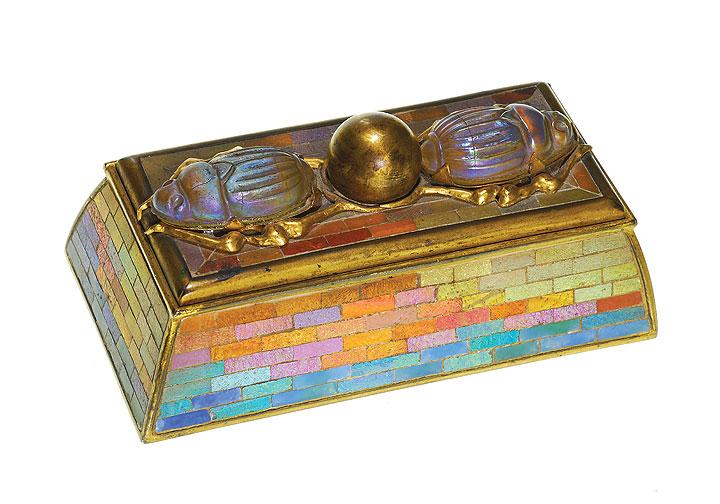 Superb Tiffany Studios scarab stamp box