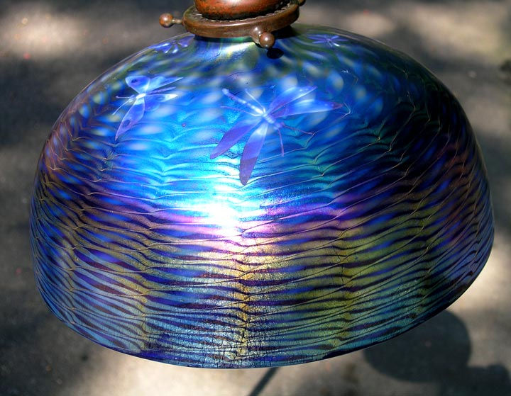 "Fabulous 10"" blue Tiffany Favrile intaglio-carved shade"