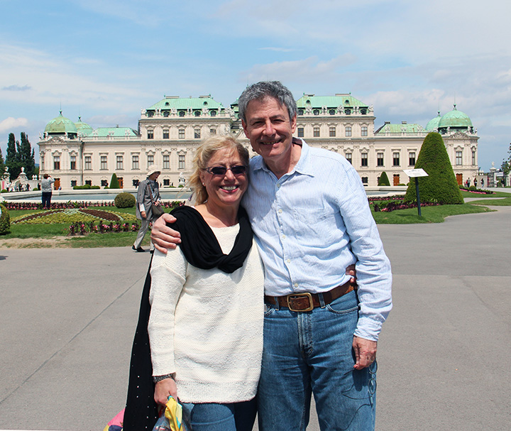That's me and my lovely wife, Lia, blocking the view of the Belvedere Palace
