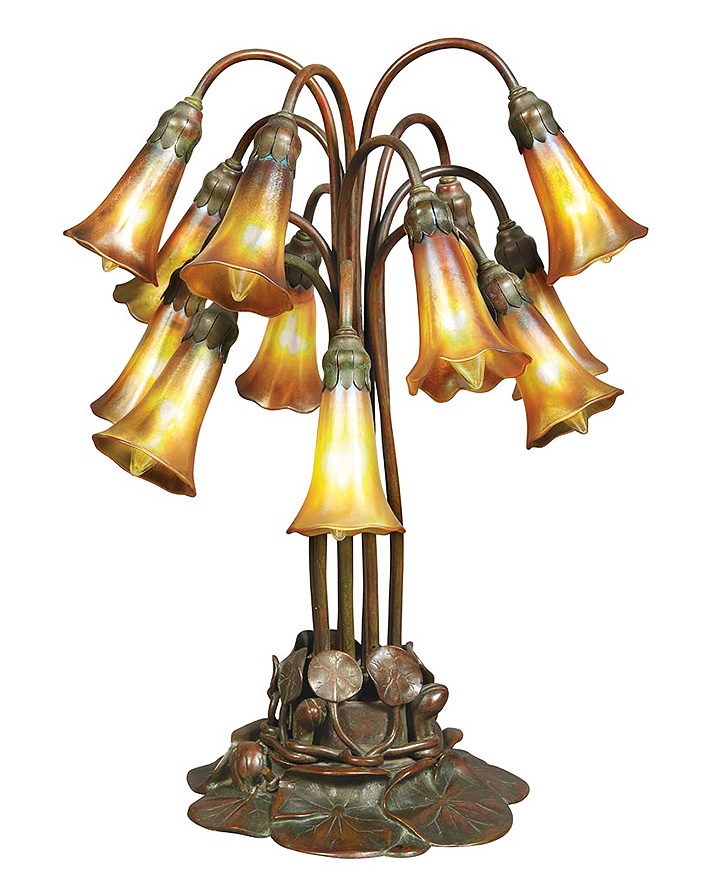 Tiffany Studios 12-light lily table lamp, Doyle lot #512