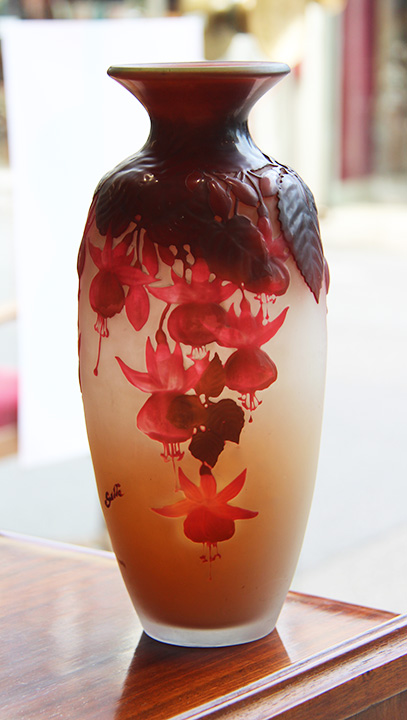 Gorgeous Galle fuchsia blownout vase, just in