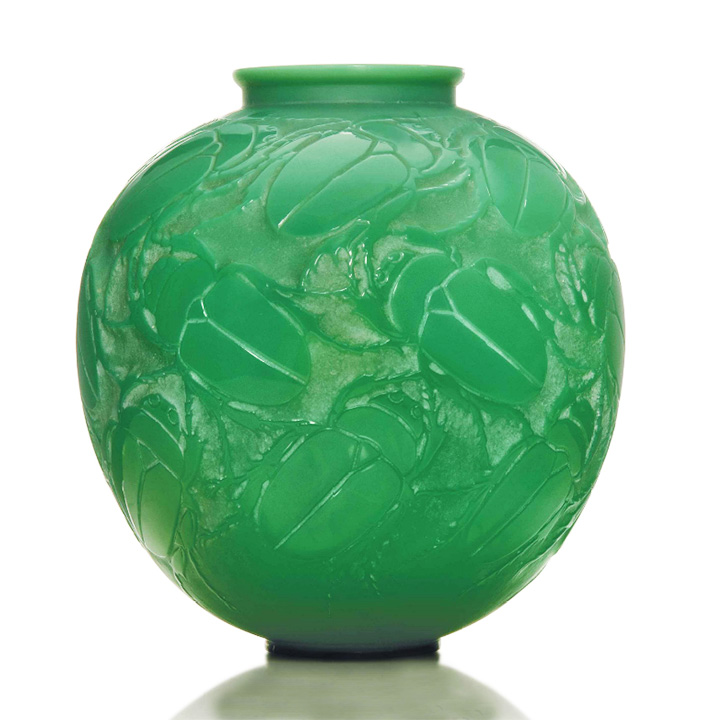 Rare green cased R. Lalique vase, Gros Scarabées, Christie's lot #181