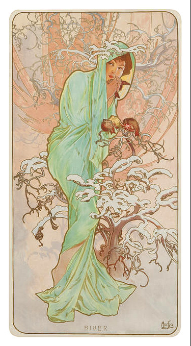 Mucha lithograph Winter, of the Four Seasons, Bonham's lot #1056