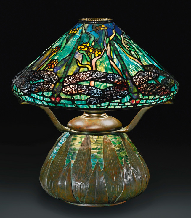 Rare Tiffany Studios Dragonfly and Waterflowers table lamp, Sotheby's lot #27