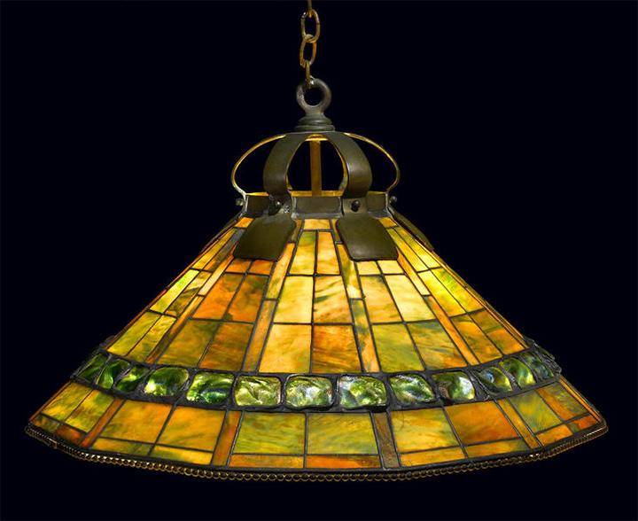 "30"" diam. Tiffany Studios Turtleback chandelier, Bonham's lot #1037"