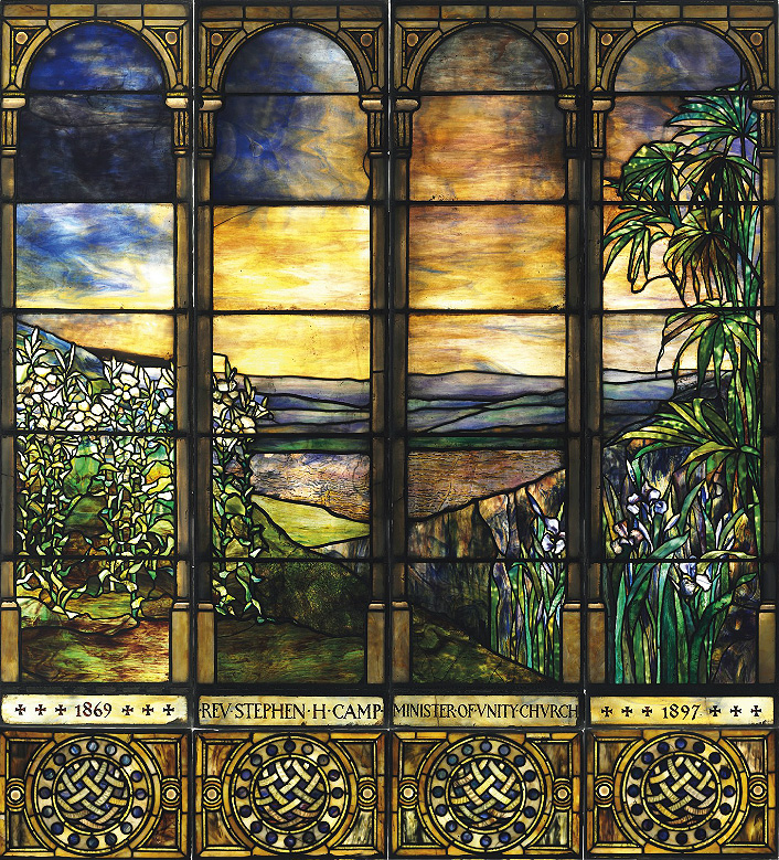 Tiffany Studios landscape window, Christie's lot #116