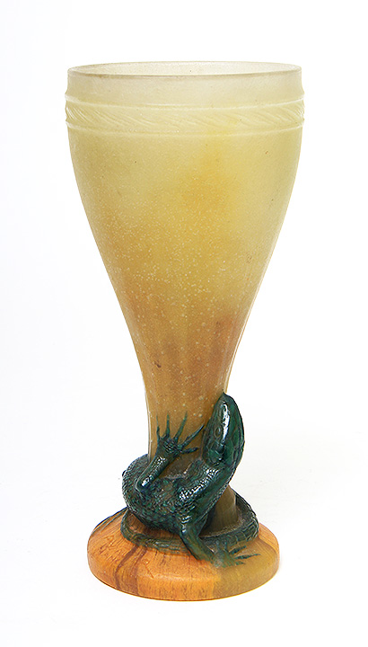 Wonderful A. Walter pate-de-verre vase with lizard, just in
