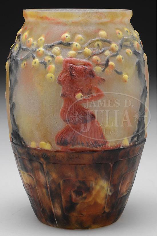 Fine Argy-Rousseau vase, The Apple Picker, Julia's lot #2283