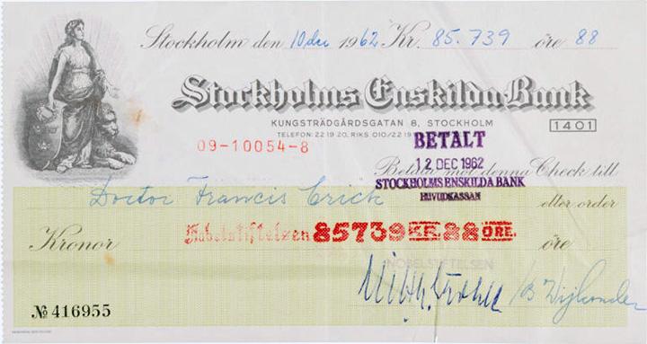 Dr. Crick's endorsed Nobel Prize check, Heritage lot #34002