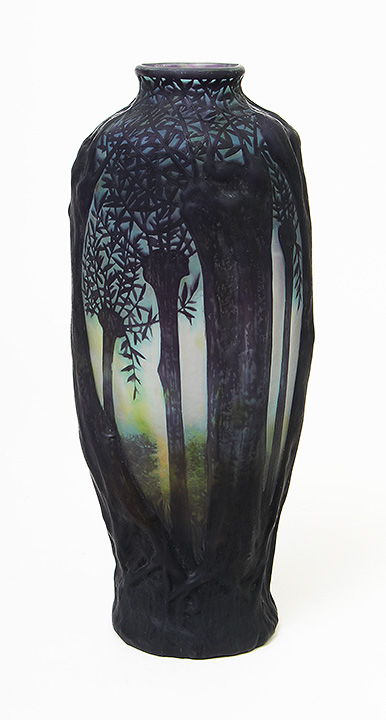 Wonderful Daum Nancy scenic blownout vase, in rare purple variation, just in