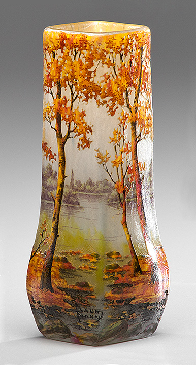 Gorgeous Daum Nancy Fall scenic vase, just in