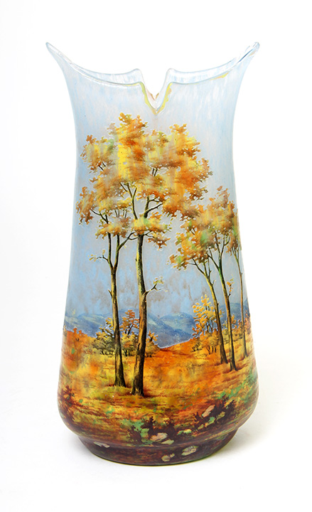 Fantastic Daum Nancy Fall scenic vase, sold at the show