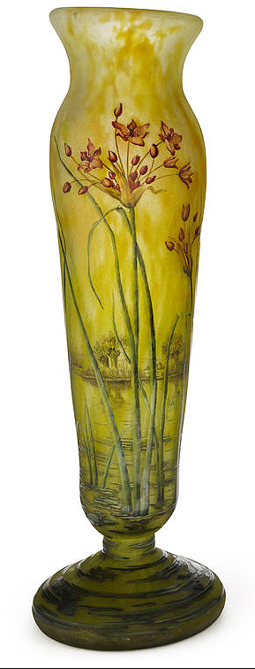 Daum Nancy lake and flower vase, Bonham's lot #1069