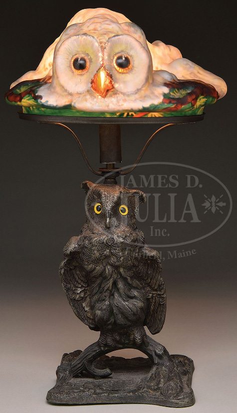 Rare Pairpoint puffy owl table lamp, Julia's lot #2086