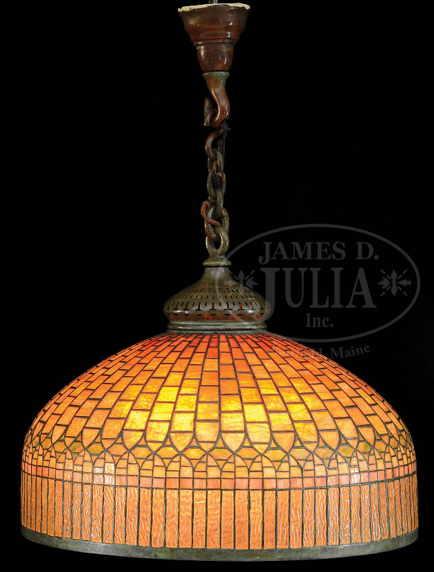 Tiffany Studios Curtain Border chandelier, Julia's lot #2481