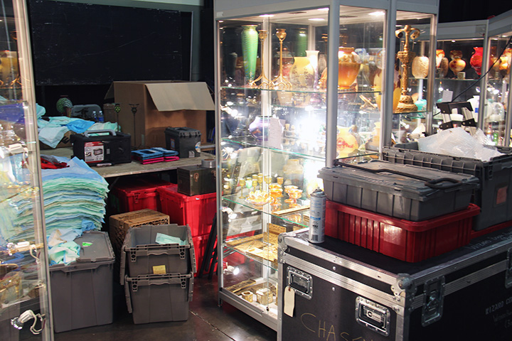 The booth is messy, but getting there.  This is the first time the Tiffany Venetian base in the case is for sale.