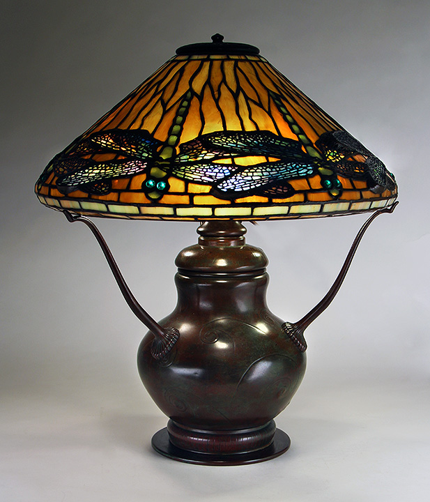 "Gorgeous Tiffany Studios 17"" Dragonfly table lamp, sold at the show"