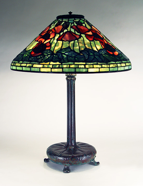 "Truly outstanding Tiffany Studios 20"" Poppy table lamp"