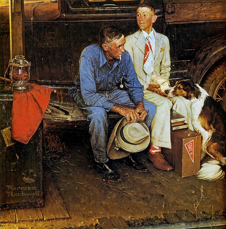 Norman Rockwell painting, Breaking Home Ties