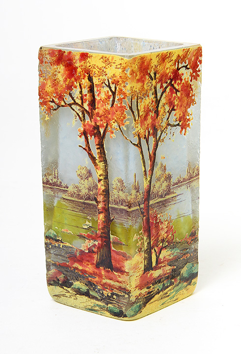 Just look at the great color and detail of this Daum Nancy fall scenic tumbler