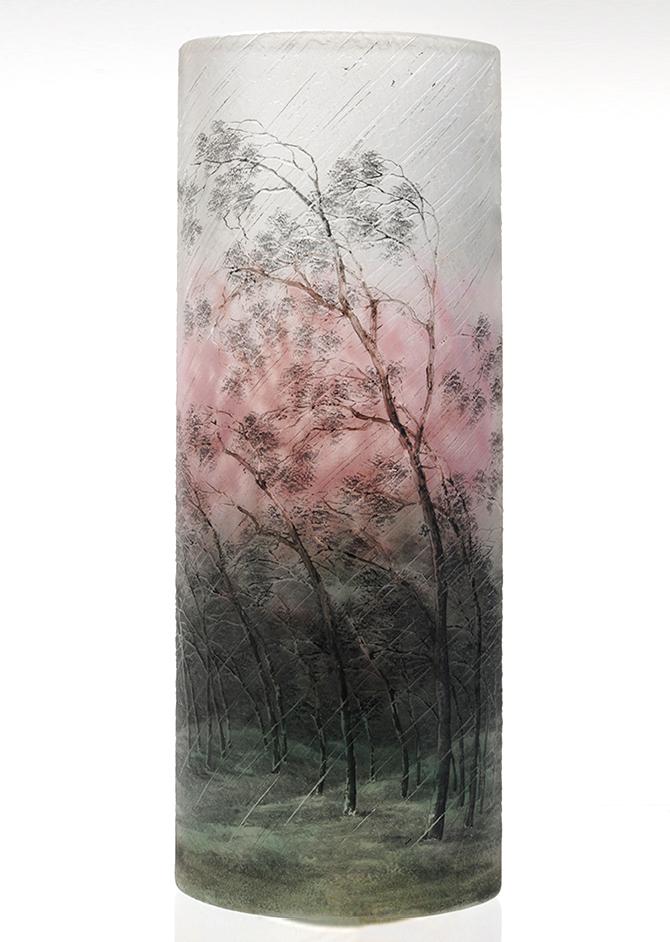 """Wonderful 12"""" Daum rain scenic vase, just in"""