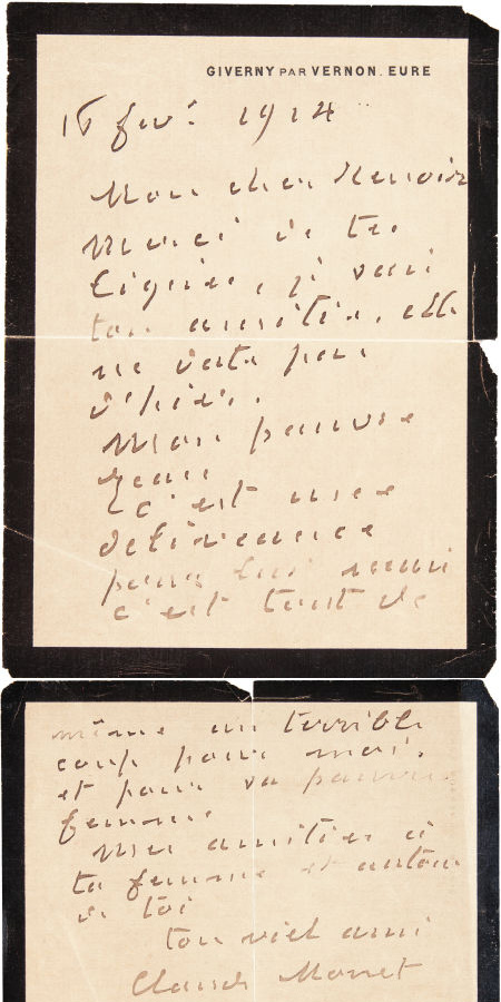 Handwritten letter from Claude Monet to Pierre-Auguste Renoir, Heritage lot #89081