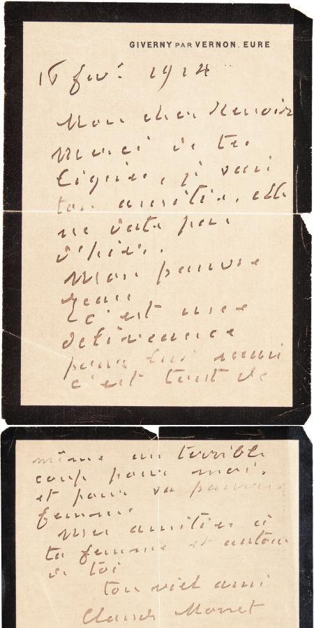 Handwritten letter from Claude Monet to Pierre-Auguste Renoir, Heritage lot #89081