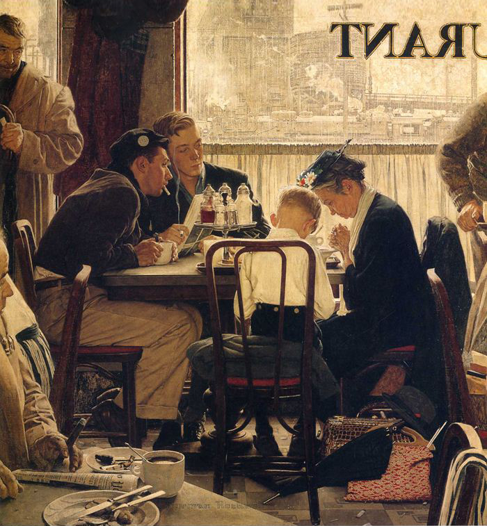 Norman Rockwell painting, Saying Grace