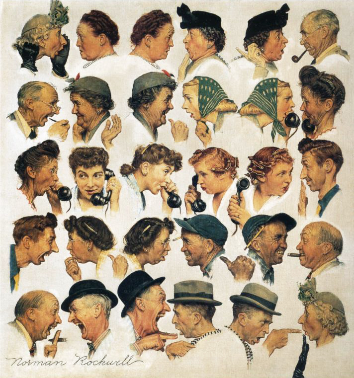 Norman Rockwell painting, The Gossips