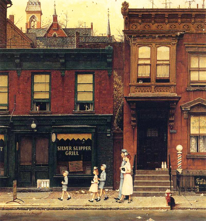 Norman Rockwell painting, Walking to Church
