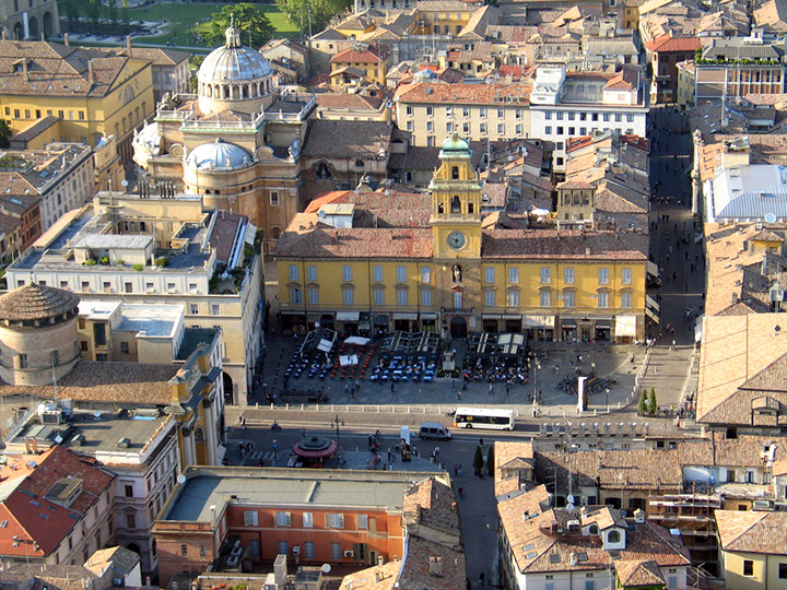 An aerial view of Piazza Garibaldi in Parma