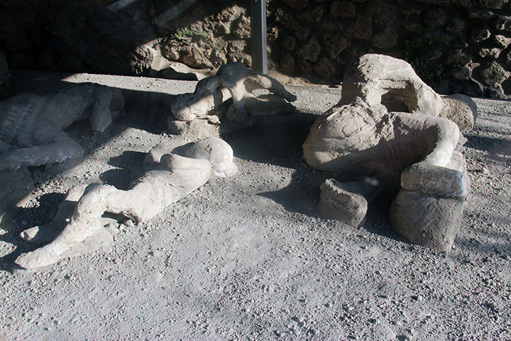 Plaster casts of some of the bodies recovered from the ruins of Pompeii
