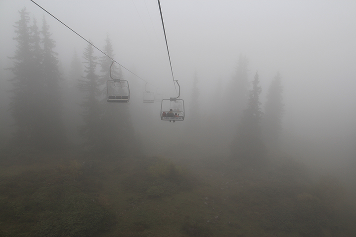 We were in the middle of the clouds on the way down