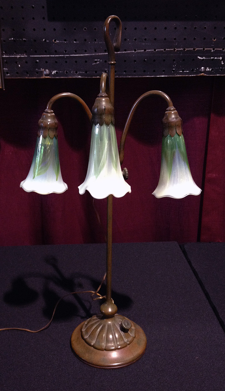 Bought this rare Tiffany Studios decorated 3-light lily lamp at the show