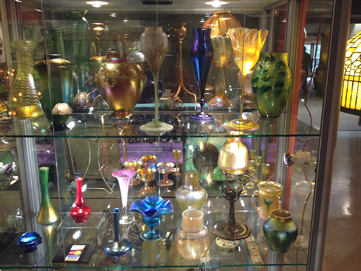 Some of the Tiffany glass on display in my booth