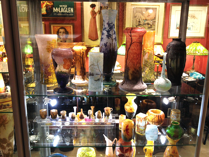 Some of the Daum vases on display