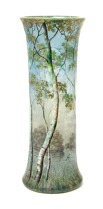 "Big, important, 13¾"" Daum birch tree scenic vase, just in"
