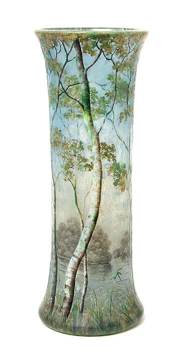 """Big, important, 13¾"""" Daum birch tree scenic vase, just in"""