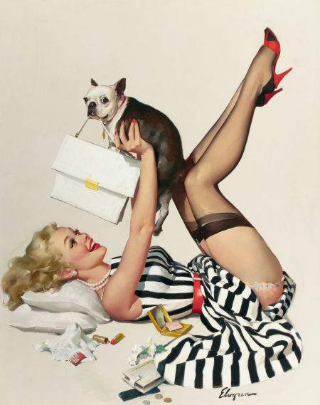 Gil Elvgren, Lucky Dog (Dog Gone Robber), Heritage lot #78071