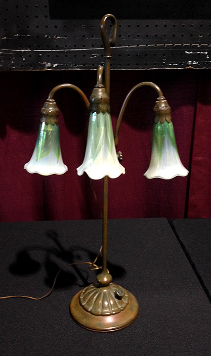 Rare Tiffany Studios 3-light lily lamp with decorated shades