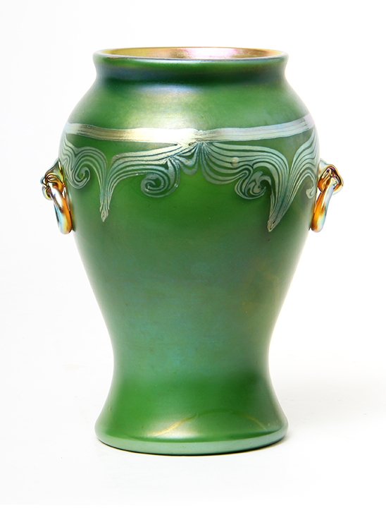 Fine Tiffany Favrile vase with applied handles, just in