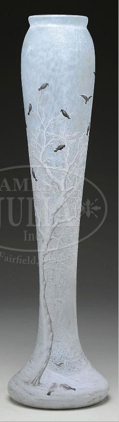 Monumental Daum Nancy blackbird vase, Julia lot #2084