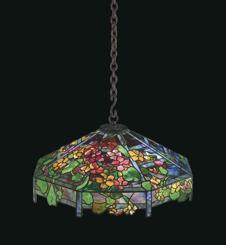 Tiffany Studios Nasturtium Trellis chandelier, Christie's lot #118