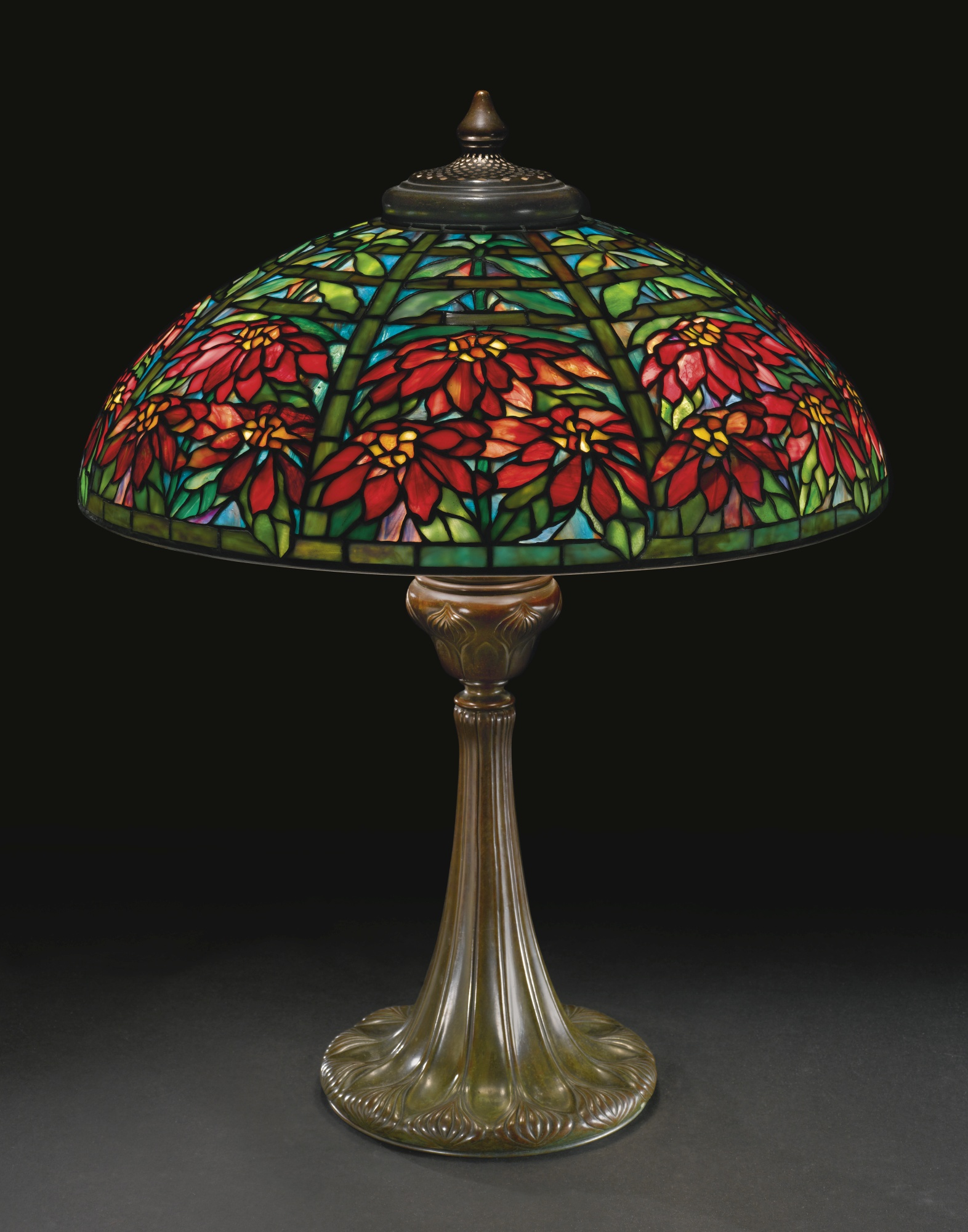 Tiffany Studios Double Poinsettia table lamp. Sotheby's lot #317