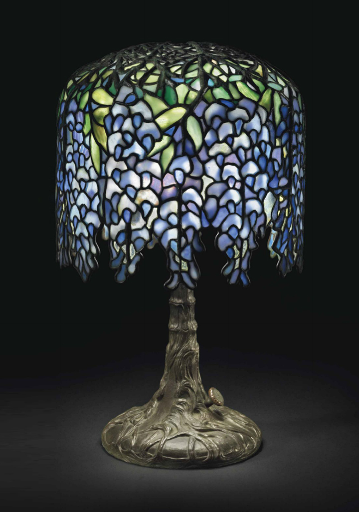 Fine Tiffany Studios Pony Wisteria table lamp, Christie's lot #135
