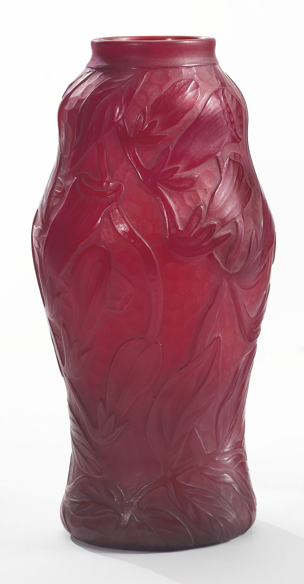 Wonderful, rare Tiffany Favrile red carved vase, Sotheby's lot #304
