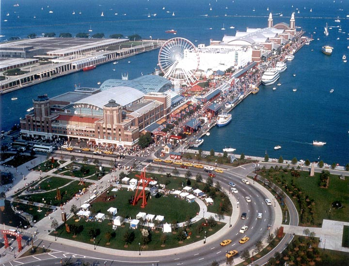 An aerial view of Chicago's Navy Pier