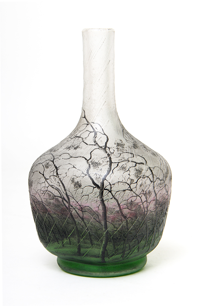 One of the fine Daum Nancy vases sold at the show